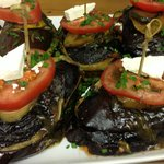 Grilled eggplant dinner option. a la carte 4 course three options per course available on reques