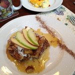 French toast with apples and cream, scrambled eggs with sausage
