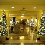 Holiday decorations in lobby.