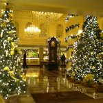 Another view of holiday decorations in lobby.