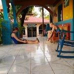 Color porch with hammocks