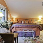 The Fireplace room, 16' square, has queen bed, Wifi, sitting area.