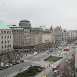 View of Wenceslas Square looking right from our balcony