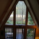View from loft in A-Frame cabin