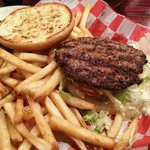 A Boomerang Old-Fashioned burger with fries.