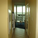 VIew of kitchen/living room from hall entrance