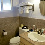Bathroom room upgraded with real granite tiles and counter.