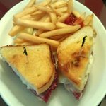 Hot Rachel - corned beef, coleslaw and Swiss cheese on house made Italian bread, with side of fr