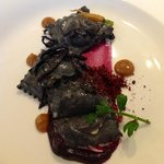 Goat Cheese stuffed ravioli with cocoa nibs, maitake mushrooms ($55.00 tasting menu)