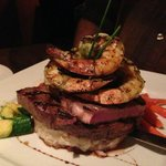 Surf and Turf. Creamy mashed potatoes topped with outstanding steak and prawns...mouthwatering