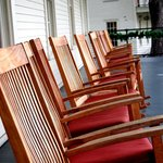 Rocking chairs on porch of main building