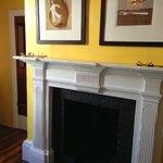Lovely Tom Samek artwork above the fireplace