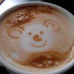 Flat white coffee with a koala face drawn by Charlie the 12 year old daughter of the owners :-)