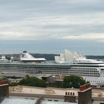 Beautiful cruise ships viewed from Rooftop Terrace