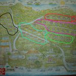 Карта отеля (красное - Гранд Делюкс, сиреневое - Делюкс, Зеленое - фронт, черное - бунгало в сад