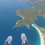 view while paragliding over the lagoon