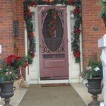 The front door all decorated for Christmas