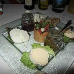 Cheese plate with great red onion and green tomato jams - give them a try!