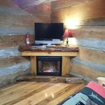 Interior Skyy's Cabin Entertainment and Simulated Fireplace