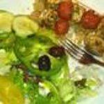 Chicken Kabob with greek salad & rice