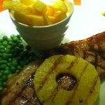 Gammon steak, fries, peas and pineapple ring