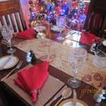 Beautiful dining room decorated for Christmas