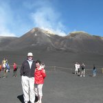 April and I in front of Mt. Etna.