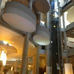 Crazy, fun lobby architecture and glass elevators.