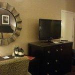 Desk, dresser, television, refrigerator