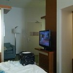 Shared TV, bathroom door, room divider
