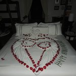 Our bed on our Anniversary!
