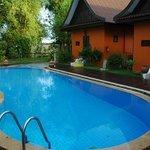 pool adjacent to villa