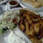 chicken fajitas (minus the refried beans & rice)