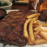 Ribs WIth French Fries and Baked Sweet Potato.