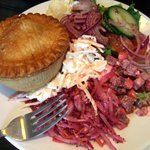 Guinness Beef Pie & Salads- including their great coleslaw!