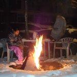 bonfire in hotel lawn