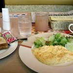 Complimentary breakfast of Scrambled eggs and a salad very good