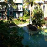 View of one of the smaller pools from our room