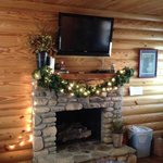 Fireplace in Cabin 9--Decorated for the Holidays!
