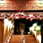 Christmas decorations at il Segreto entrance
