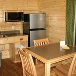 In deluxe cabin- had everything but a stove. But bbq is outside with propane provided