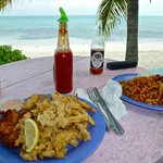 Cracked conch and fritters for me; creole conch for him...