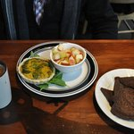 Eggless Spinach Mushroom Quiche With Side of Toast and Nog Latte
