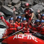 Hands up! Having a blast on the Kicking Horse River