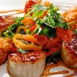 callos de acha | jumbo day boat sea scallops · chipotle glaze · tomato-chipotle arborio rice