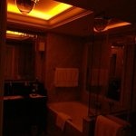 Bathroom with dimmed lights