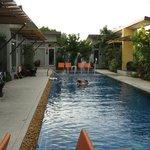The swimming pool - Room 601 door is straight ahead