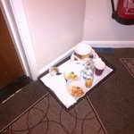 This is the door to our 'suite' on the left, yet these were NOT our dishes sat outside out room