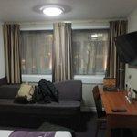 Sofa, desk and tv