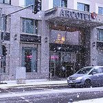 snowing in Berlin exterior of arcotel